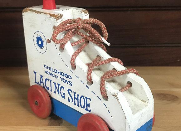 Vintage Wooden Lacing Shoe Car