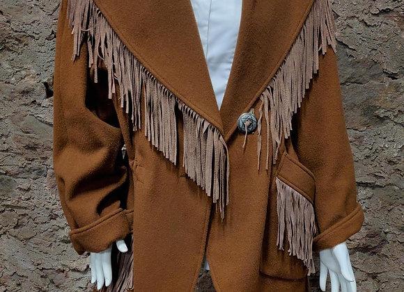 Shawl Collar Coat with Fringe