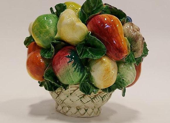 Vintage Capodimonte Ceramic Fruit Basket