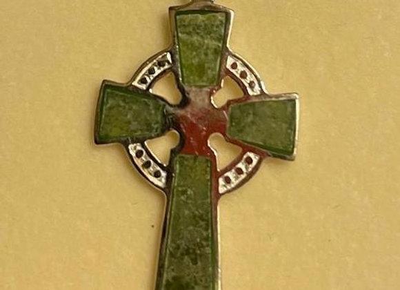 Connemara Marble Silver Celtic Cross