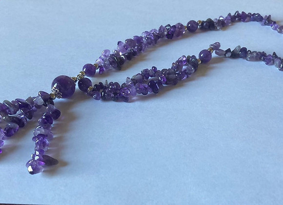 African Amethyst Necklace with Sterling Silver Accents