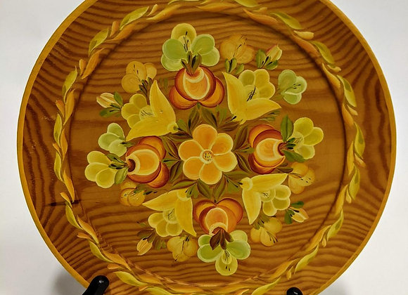 Russian Hand Painted Wooden Plate