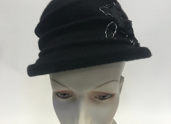 Parkhurst Hat with Black and Silver Roses