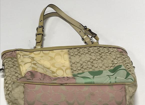 Coach Multi color Fabric & Patent Leather Bag