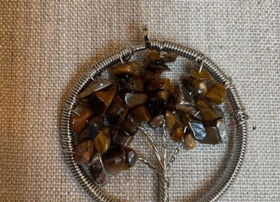 Tree of Life Pendant with Tiger Eye Stones