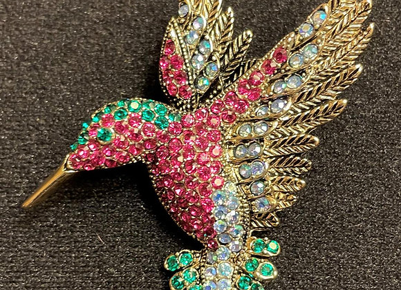 Antiqued Gold-tone Hummingbird Brooch.