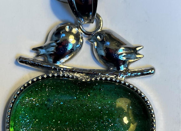 Heart Inlay Green Fire Glass Silver Pendant (only)
