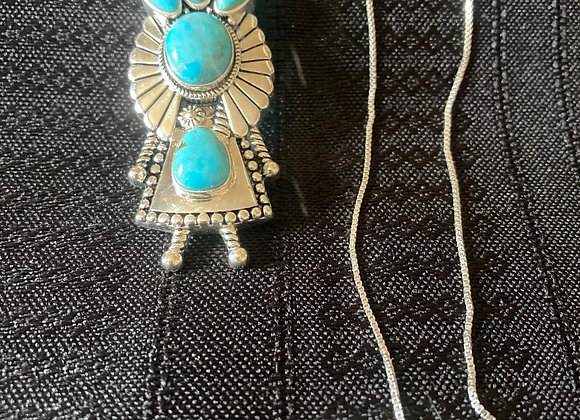 Turquoise and Sterling Silver Kachina Doll Necklace