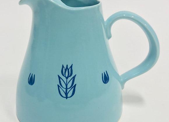 Blue Tulip Pitcher by Cronin Pottery