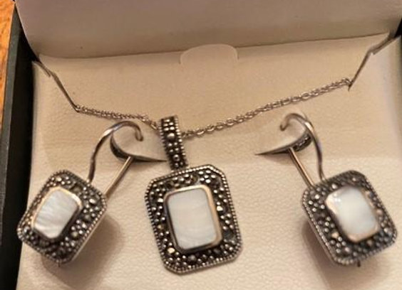 Sterling Silver Necklace & Earring Set with Mother of Pearl Inserts