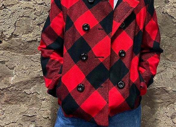 Buffalo Plaid Double-Breasted Blazer