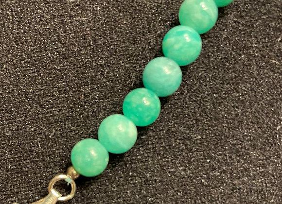 Russian Amazonite Beads Sterling Silver Bracelet