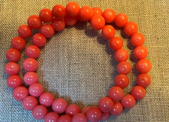 Set of Two Round Salmon Pink Coral Beads Stretch Bracelets