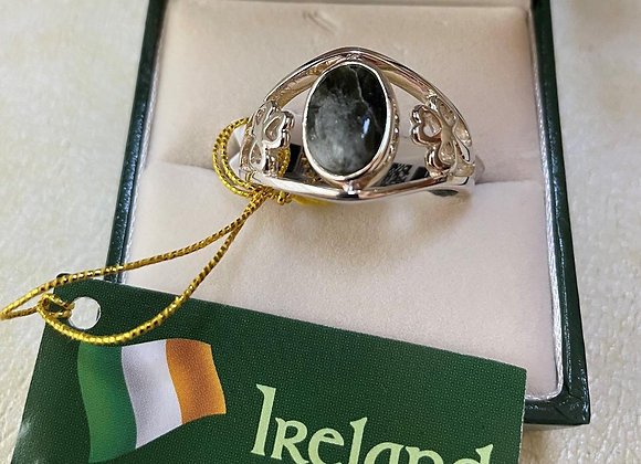 Connemara Marble Sterling Silver Turnover Ring (Size 11)
