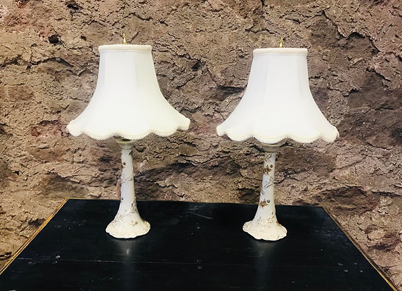 Pair of Delicate Vintage Ceramic Lamps