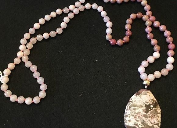 Rose Quartz and Agate Beaded Necklace