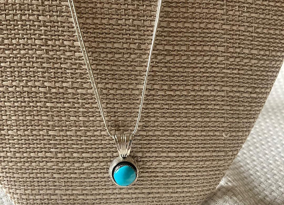 Sterling Silver Turquoise Stone Necklace