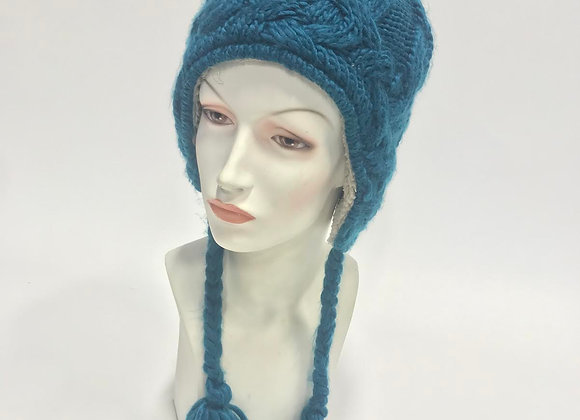 Blue Knit Hat with Lining