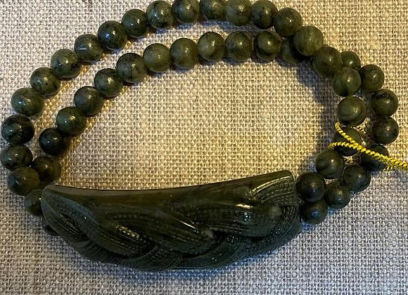 Marble Carved Braid Panel and Bead Stretch Bracelet