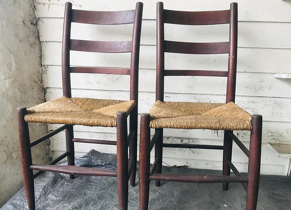 Pair of Antique Rush Seat Chairs