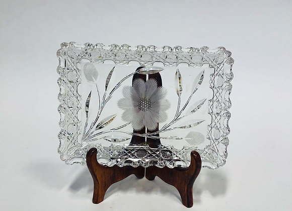 Vintage Cut Glass and Floral Etched Rectangular Tray