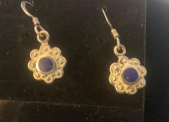 Silver Earrings with Round Lapis Insert