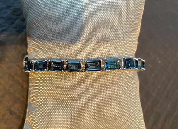 Blue Crystals on Sterling Silver Bracelet