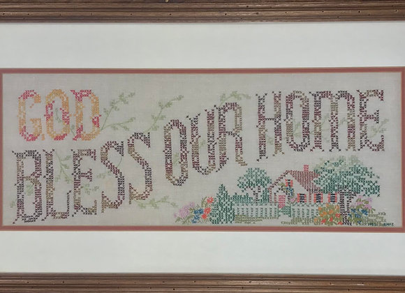 Cross-Stitched God Bless Our Home