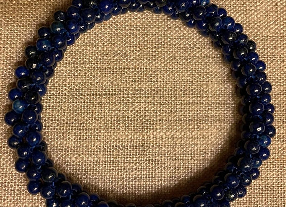 Blue Lapis Lazuli Beads, Knitted Stretch Bracelet