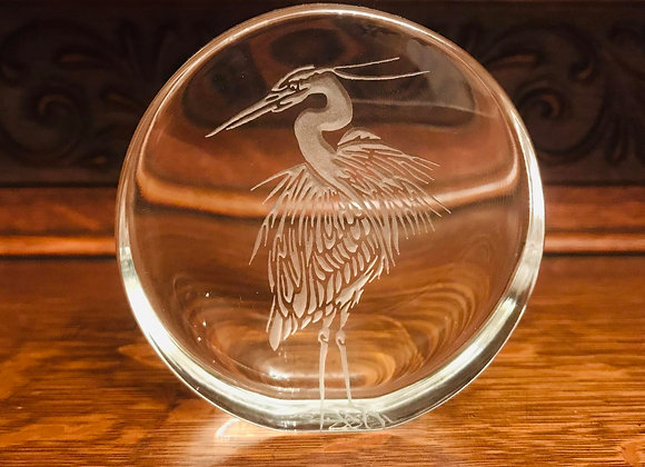Crane Glass Paperweight