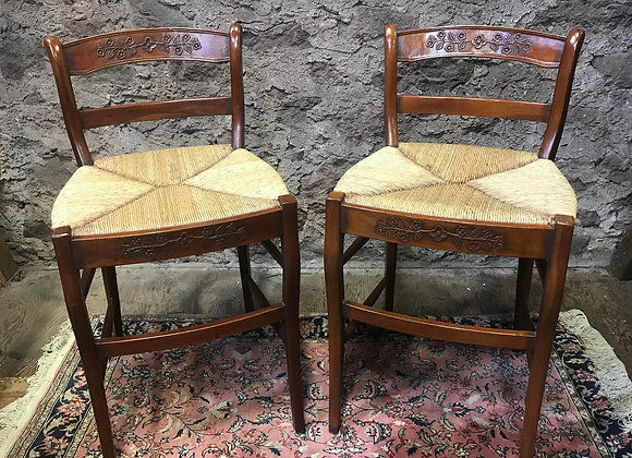 Pair of Low Backed Wooden Chairs