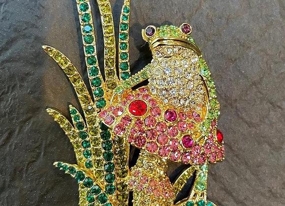 Crystal Frog Pin