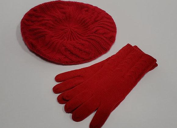 Cashmere Red Cap & Gloves