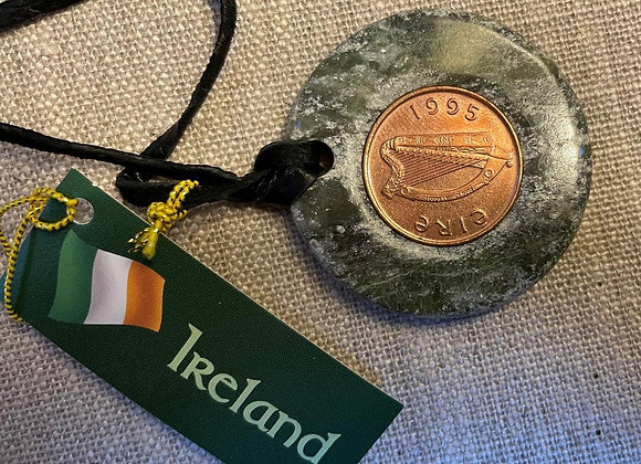 Lucky Irish Brass Penny, Conemara Marble Pendant and Leather Cord Necklace