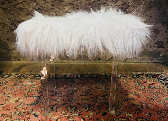 Acrylic Chair with White Faux Fur