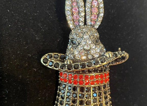 Rabbit in a Hat Pin
