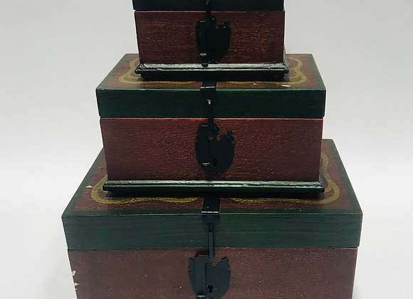 Three Nesting Painted Boxes