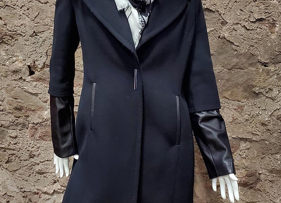 Elie Tahari Wool Coat with Leather Accents