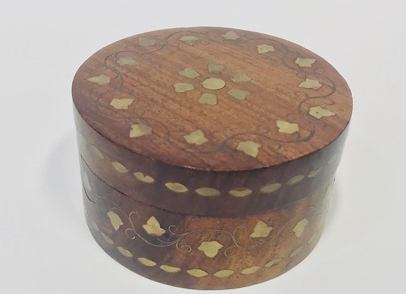 Inlaid Round Wooden Jewelry Box