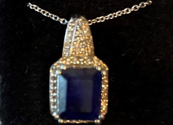 Sapphire Stone and Crystals on a Sterling Silver Base