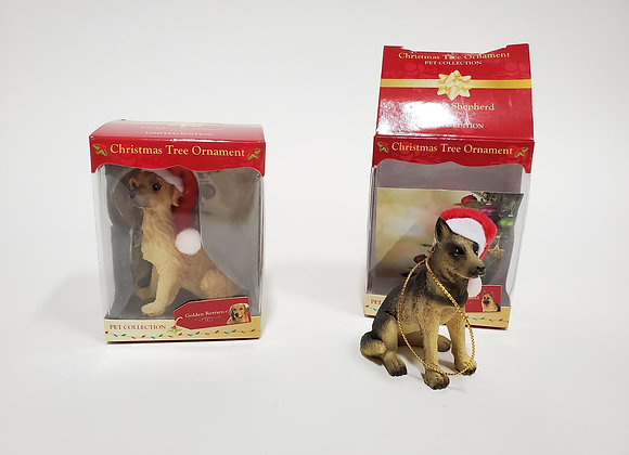 Two Christmas Tree Dog Ornaments