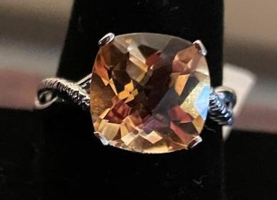 Square Cushion Yellow Citrine Solitaire Ring (Size 12)