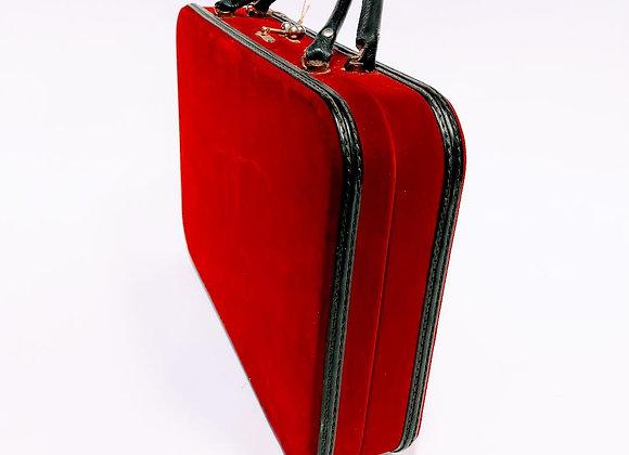 Vintage Red Velvet Travel Case