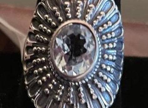 Oval Blue Topaz Ring (Size 12)
