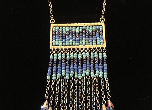 Modern Blue Beaded Necklace with Silver-toned Chain