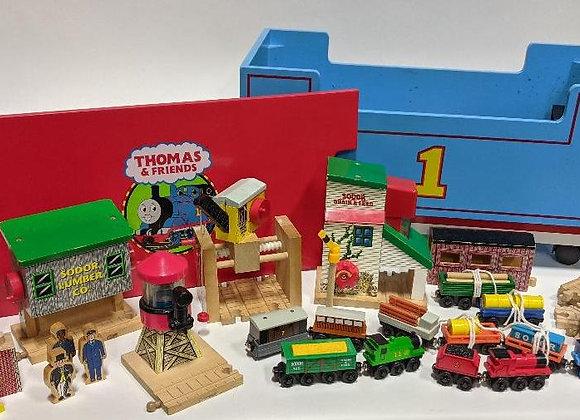Vintage Thomas The Train Set with Wooden Storage Box Bench
