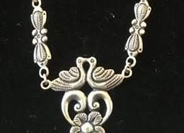 Silver Flower Necklace with Double Swans