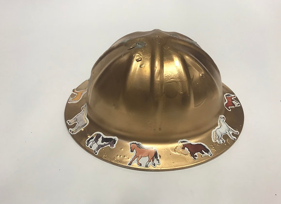 Gold Hardhat with Horse Stickers