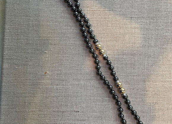 Hematite Beads with Gold-tone Spacers Necklace