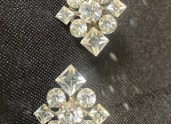 Two Vintage Costume Pins with Round and Square Clear Glass